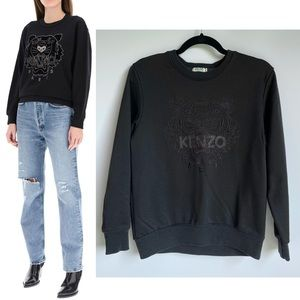 Kenzo Paris Black Embroidered Tiger Sweatshirt